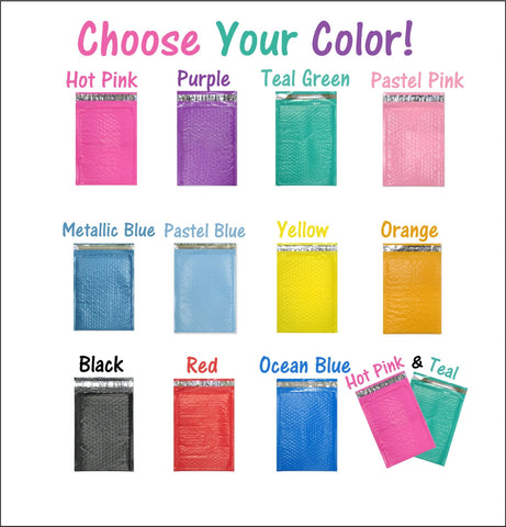"Beautiful Colored 6"" x 10"" Poly Bubble Mailers, #0 Padded Self Adhesive Envelopes"