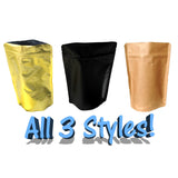 2 oz Stand Up Food Safe Resealable Foil Lined Pouch Bags, Kraft, Gold, Black, Clear Front - Wrappingmeup