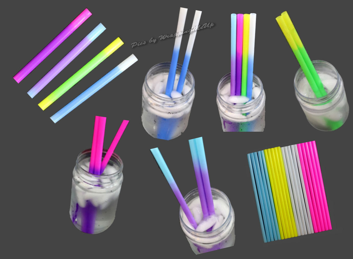 "9"" Fun Reusable Color Changing Plastic Party Straws - Wrappingmeup"