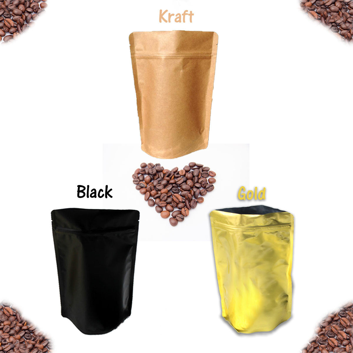 8 oz Stand Up Food Safe Resealable Foil Lined Pouch Bags, Kraft, Gold, Black - Wrappingmeup