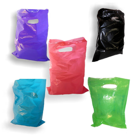 "Choose your Colors! Plastic Merchandise Bags size 15"" x 18"" x 4"" Colored Party Gift Bags With Handles"