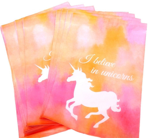 "10"" x 13"" Pastel Pink Unicorn Flat Poly Self Adhesive Shipping Mailers - Wrappingmeup"