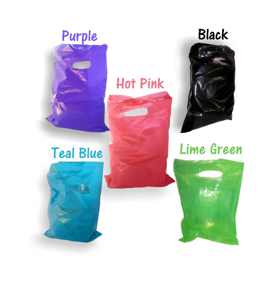 "12"" x 15"" Plastic Merchandise Bags, Colored Party Gift Bags With Die Cut Handles - Wrappingmeup"
