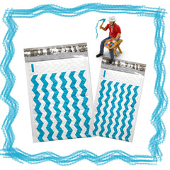 "4"" x 8"" and 6 x 10"" Teal Blue Chevron Poly Bubble Mailers, #000, #0 Colored Padded Self Adhesive Envelopes - Wrappingmeup"