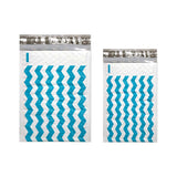 "4"" x 8"" and 6 x 10"" Teal Blue Chevron Poly Bubble Mailers, #000, #0 Colored Padded Self Adhesive Envelopes"