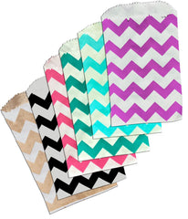 "3.25"" x 5.25"" Colored Chevron Flat Paper Merchandise Bags -Mini Bags"