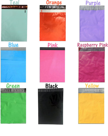 "10"" x 13"" Beautiful Colored Poly Mailers, Multi-color, mixed colors or all one color!"