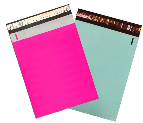 "10"" x 13"" Neon Hot Pink and Teal Combo Flat Poly Mailers,  Self Sealing Adhesive Shipping Flat Mailers"