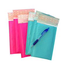 "Exclusive Hot Pink and Aqua Kraft 4"" x 8"" Poly Bubble Mailers, #000 Colored Padded Self Adhesive Envelopes - Wrappingmeup"