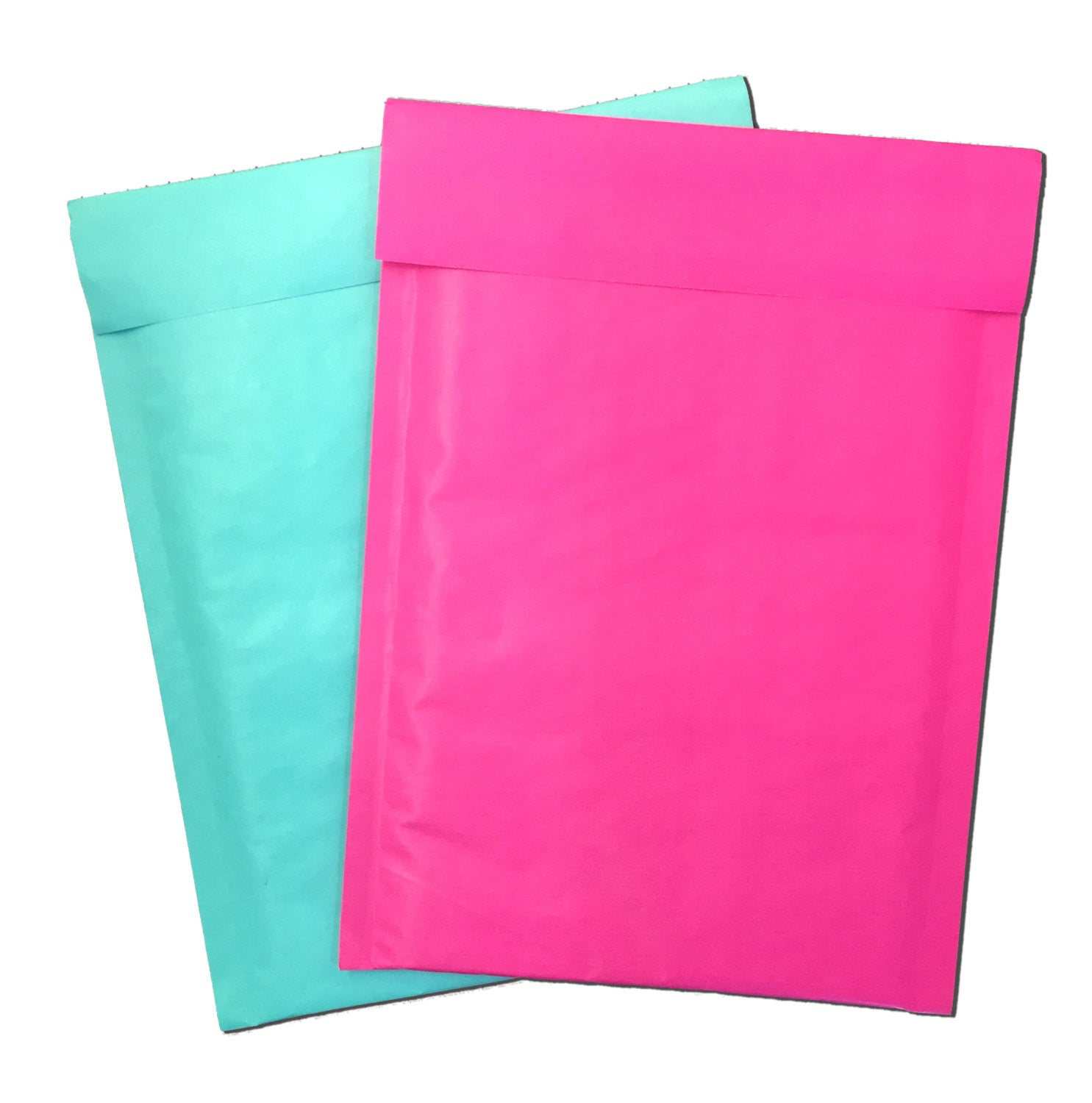 "Exclusive Aqua Kraft and Hot Pink Kraft 6"" x 10"" Poly Bubble Mailers, #0 Colored Padded Self Adhesive Envelopes"