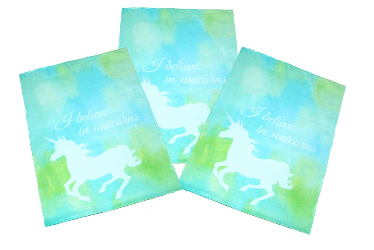 "10"" x 13"" Beautiful Blue Unicorn Flat Poly Self Adhesive Shipping Mailers - Wrappingmeup"
