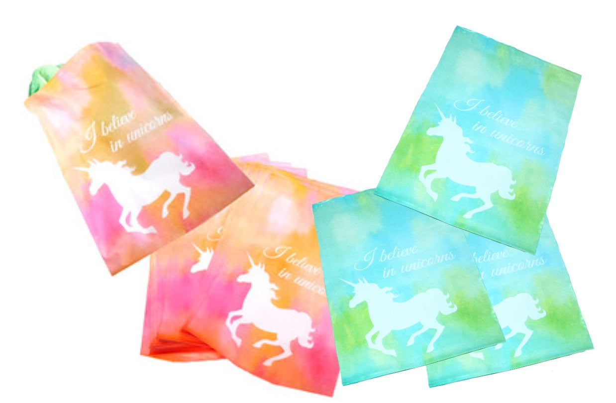 "10"" x 13"" Beautiful Blue and Pink Unicorn Flat Poly Self Adhesive Shipping Mailers, Combo Color Mailers - Wrappingmeup"
