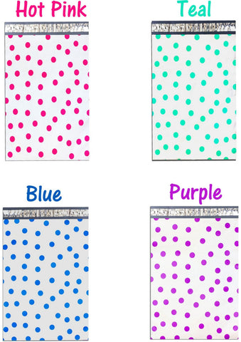 "10"" x 13"" Hot Pink Teal Purple and Blue Colorful Polka Dot Poly Mailers"