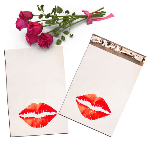"10"" x 13"" Kissy Lips Colorful Flat Poly Shipping Mailers, Postal Designer Mailing Bags"