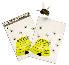 "10"" x 13"" Honey Bees Colorful Flat Poly Shipping Mailers, Postal Designer Mailing Bags"