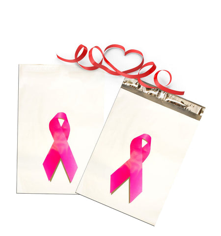 "10"" x 13"" Breast Cancer Awareness Flat Poly Shipping Mailers, Postal Designer Mailing Bags"