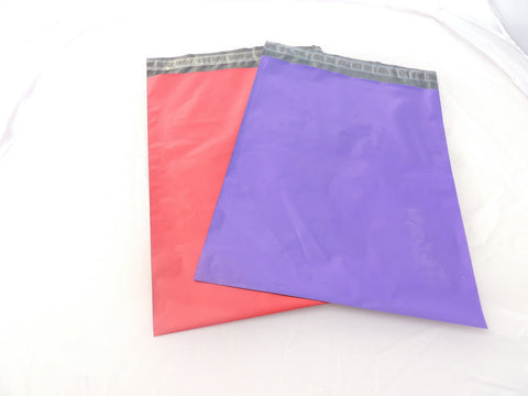 "50 Pack 14.5"" x 19"" Pink and Purple Large Flat Poly Mailing Shipping Bags"