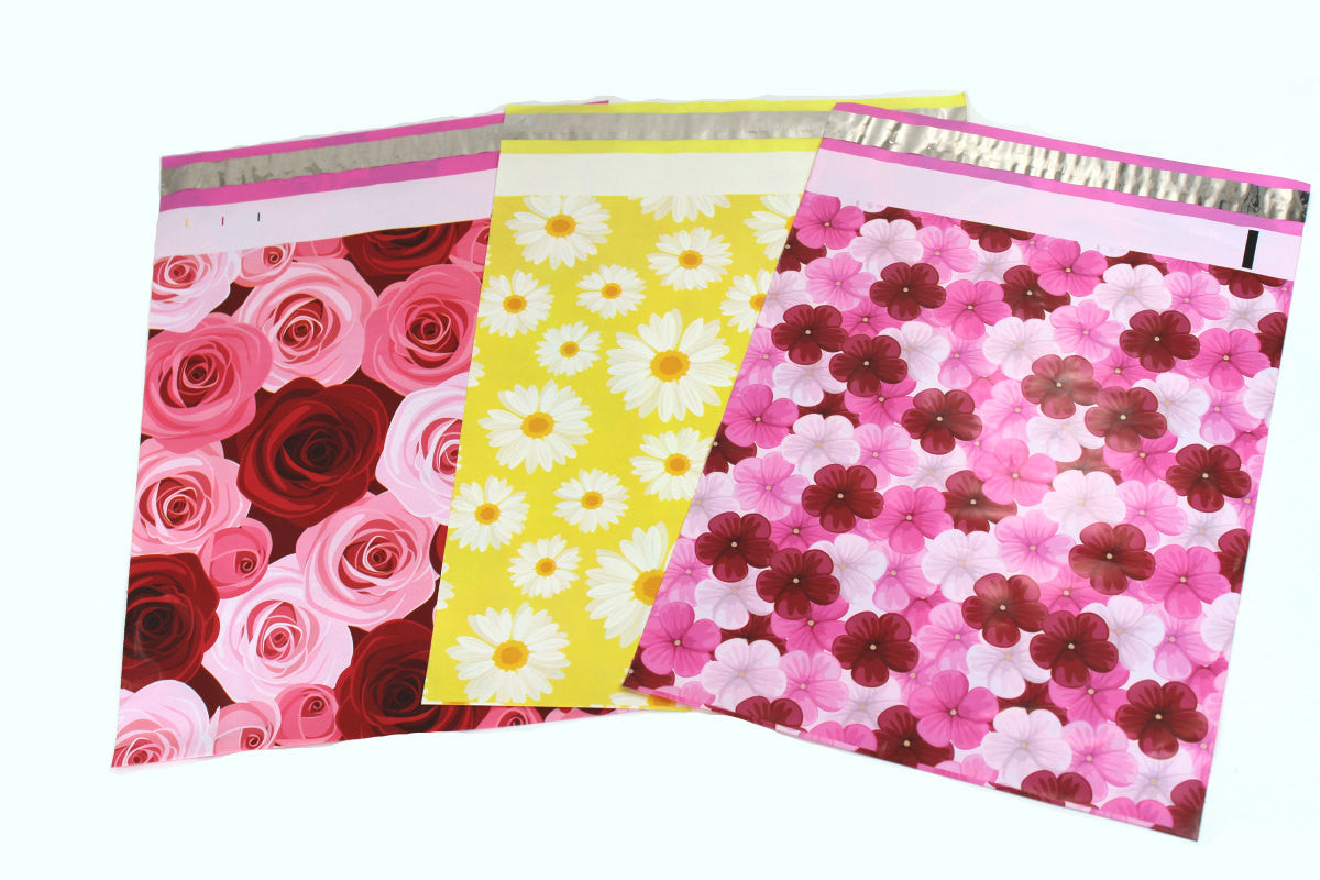 "100 Pack 10"" x 13"" Flower Designs Flat Poly Shipping Mailers,  Fun Design Poly Shipping bags - Wrappingmeup"