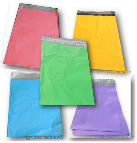 "9"" x 12"" Colored Poly Mailers,  Flat Shipping Plastic Self Adhesive Poly Bags"