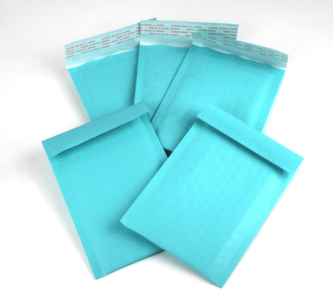 "Exclusive Aqua Kraft 4"" x 8"" Poly Bubble Mailers, #000 Colored Padded Self Adhesive Envelopes"