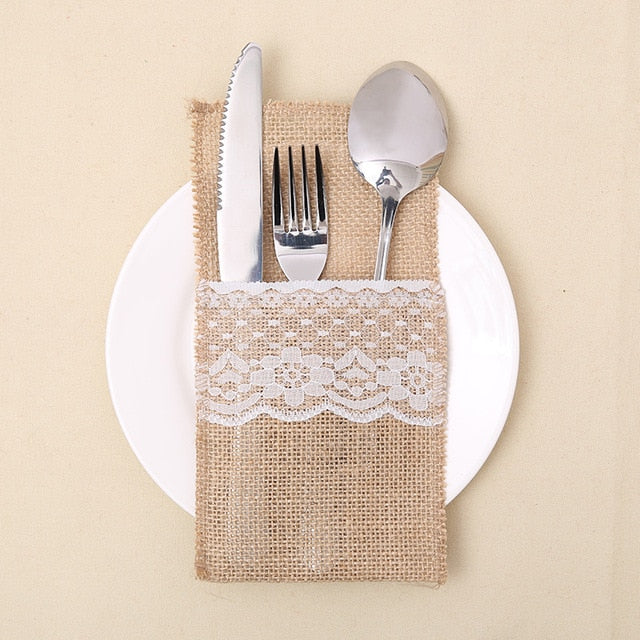 3PCS Jute Lace Pocket Wedding Tableware Packaging Fork&Knife Burlap Holder Pocket Table Decor Christmas/Wedding Party Supplies - Wrappingmeup