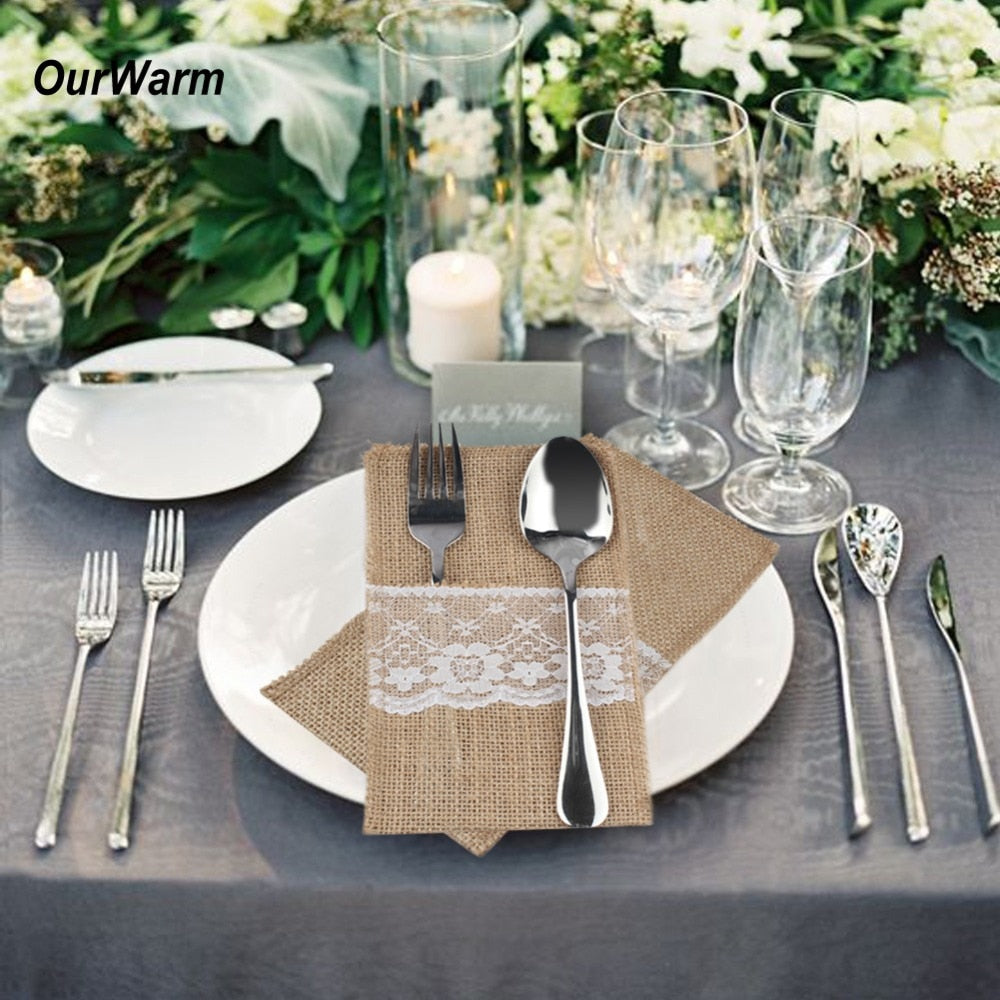 OurWarm Rustic Wedding Table Decor 100Pcs Jute Burlap Pocket Holder Packaging Fork Knife Vintage Wedding Banquet Party Supplies - Wrappingmeup