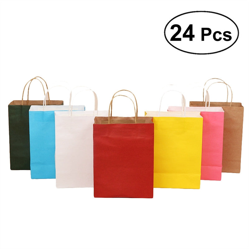 24Pcs 21*8*15cm Colorful Environment Friendly Kraft Paper Gift Bag With Handle Wedding Birthday Party Shop Store Gift Package Wrapping Supplies (Random Color) - Wrappingmeup