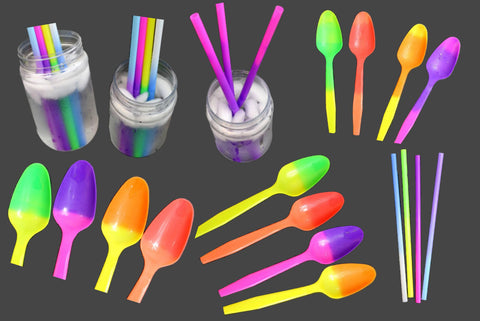 Fun Color Changing Plastic Spoons and Straws Party Combo Packs