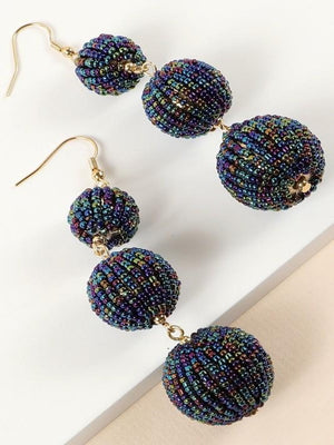 Round Seed Bead Dangling Earrings