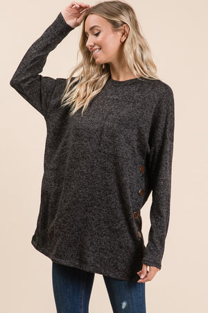 Cadence Long Sleeve Tunic with Button Detail