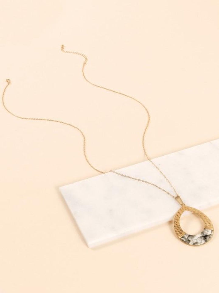 Snake Skin Leather Teardrop Pendant Necklace