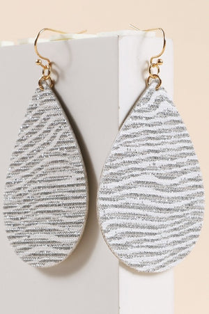 Tear Drop Glitter Dangling Earrings