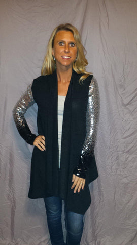 12 PM Sequin Cascading Cardigan