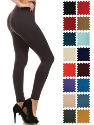 Fleece Lined Solid Colored Leggings - CURVY