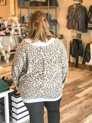 Adele Deep V Leopard Sweater