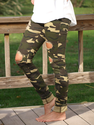 Camouflage Worn Out Jeggings