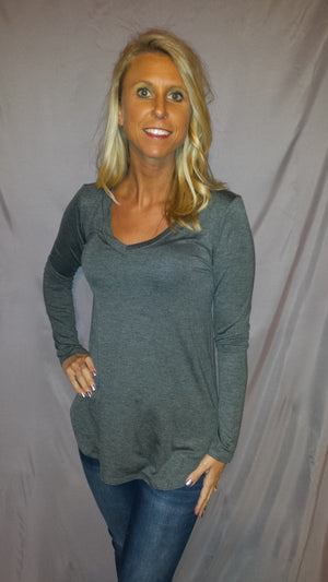 Comfy Long Sleeve V-Neck - CURVY