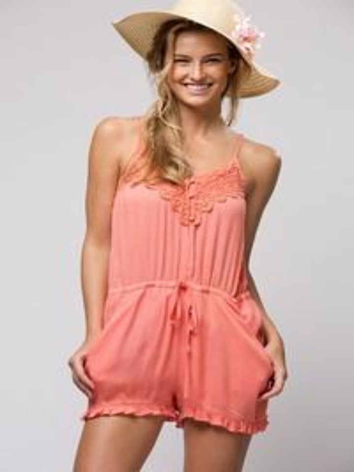 Coral Romper with pockets