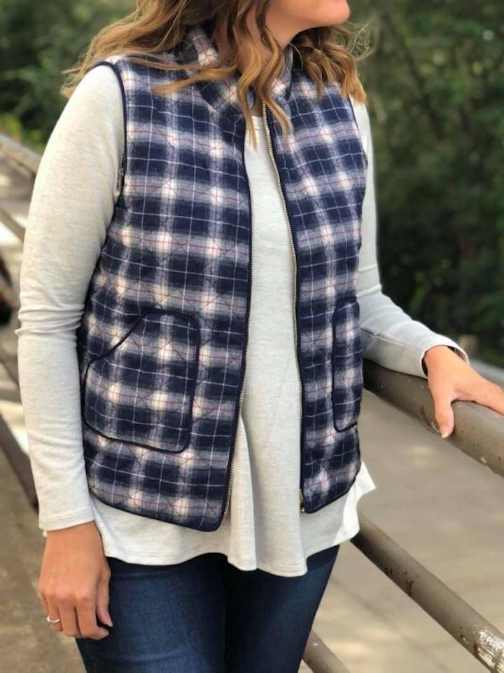 Cassie Navy Plaid Vest