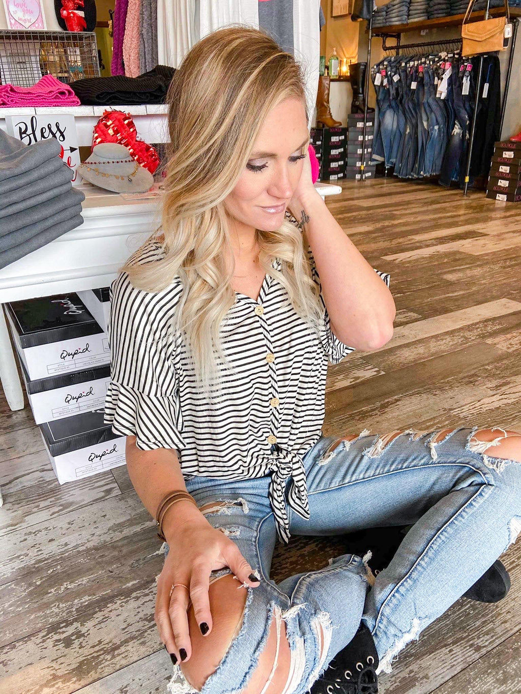 Penelope Striped Button Down Tie Top