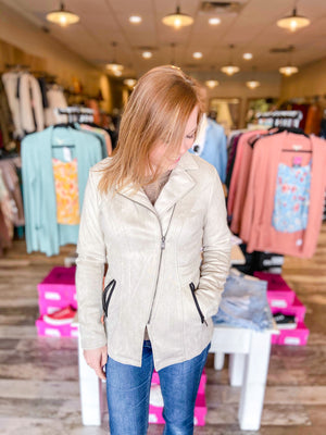Remy Faux Suede Jacket with Hoodie
