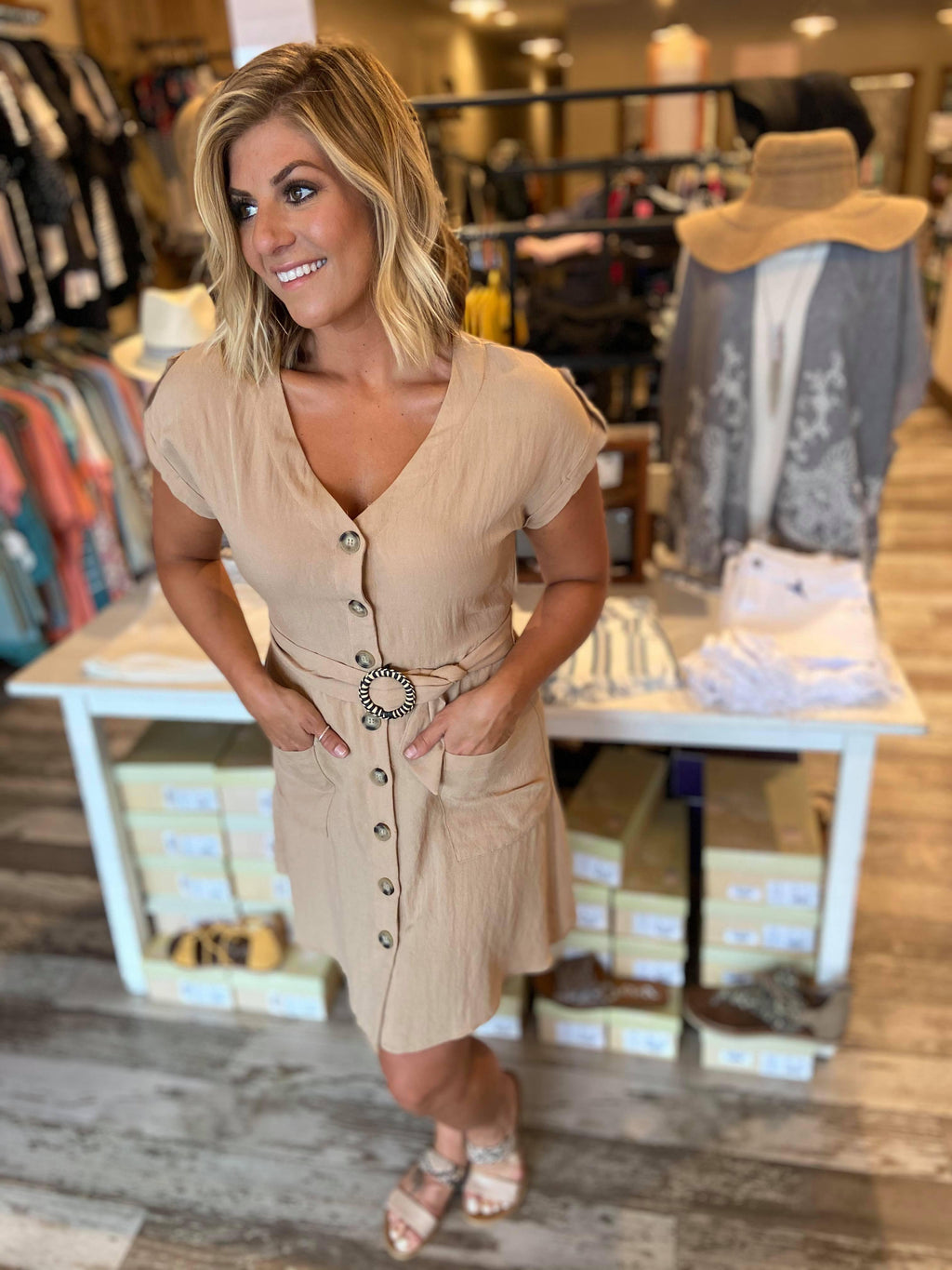 Posie Button Down Belted Dress