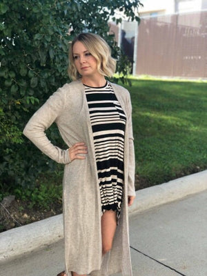 Maxi Length Open Front Cardigan