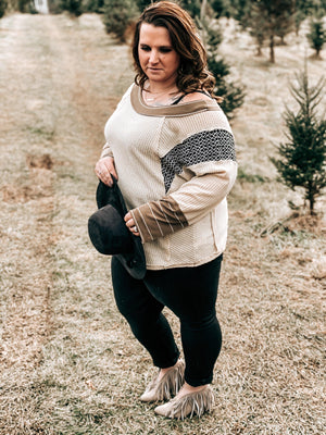 Adah Waffle Knit With Dolman Sleeves
