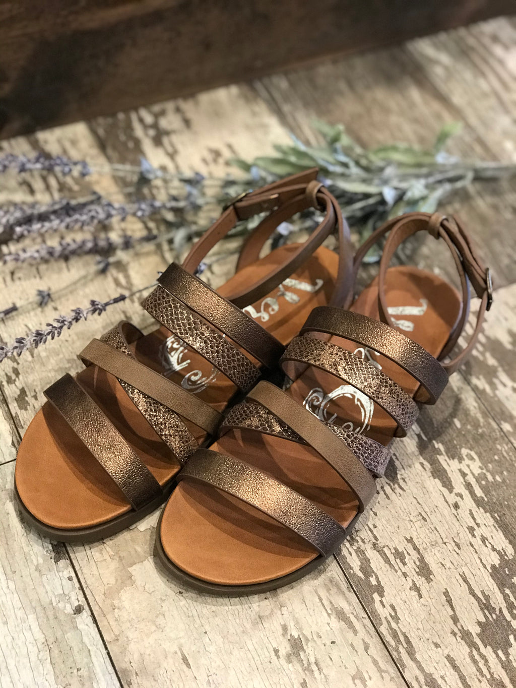 Virginia Copper Strappy Flat Sandals