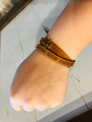 Never Stop Exploring Tan Leather Bracelets