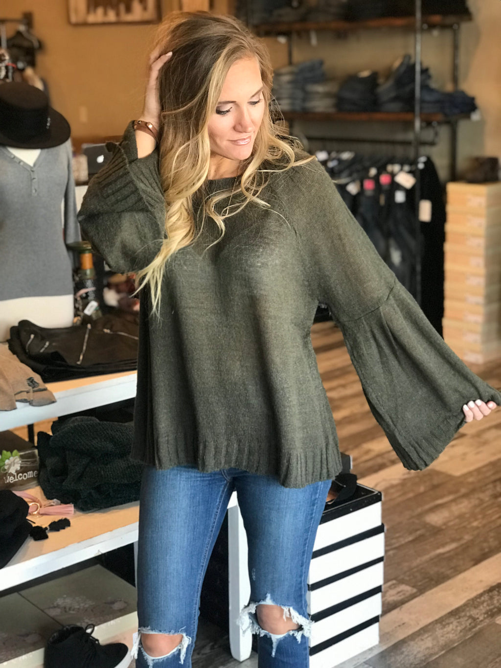 Mckenzie Olive Pleated Lightweight Sweater