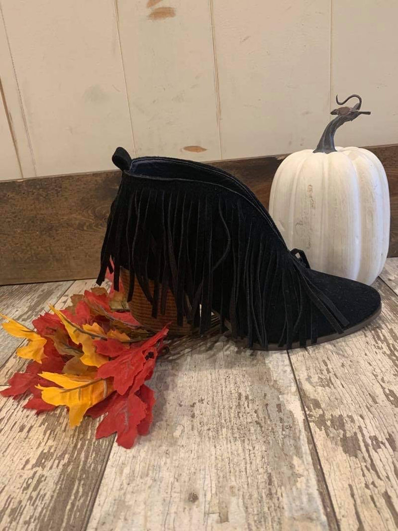 Black Carrie Fringe Booties
