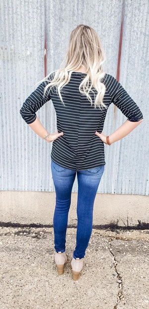 Emma Striped V-neck with Twisted Hem