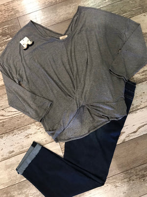 Carlee Heather Grey Knit Top